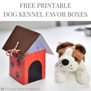 Free Printable Dog Kennel Party Favor Box - Head over to ahappyhomeinholland.com for tutorial and to download the template.