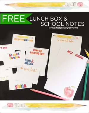 FREE Lunch Box and School Notes