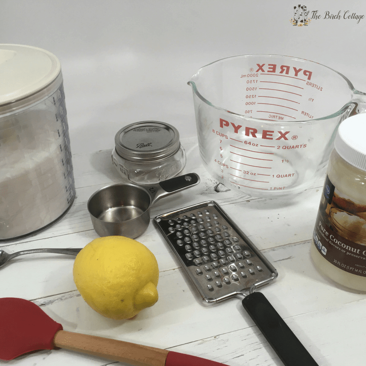 Supplies you need to make lemon sugar scrub