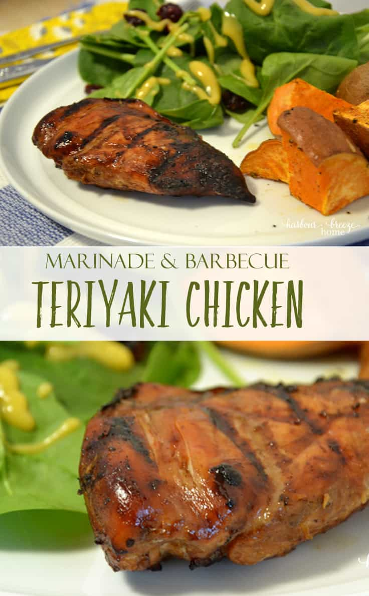 Barbecued chicken on a white plate with green salad and roasted sweet potatoes #grilllrecipes #easydinnerrecipes #chickenrecipes