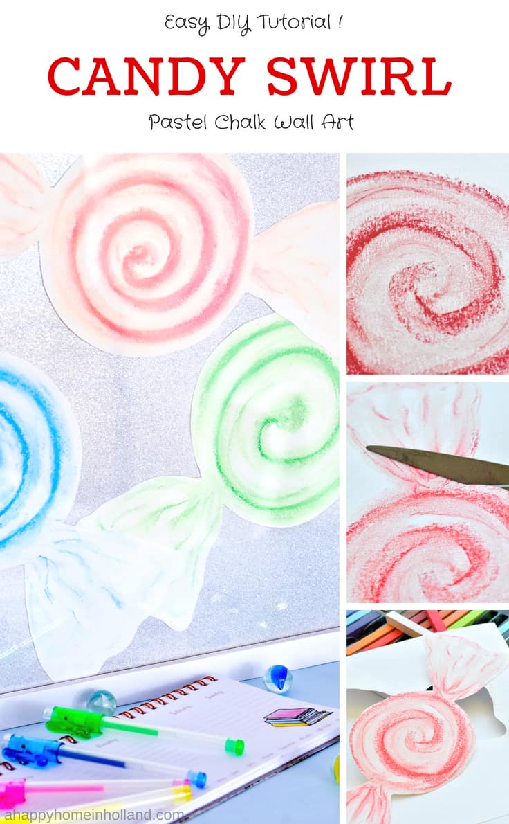 DIY Candy Swirl Art Work Idea - Learn how to draw these simple candy shapes using pastel chalks. #diywallart #girlsroom #diywalldecor