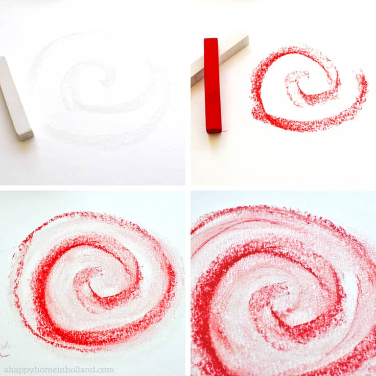 Pastel chalk tutorial - learn how to draw these fun candy swirl shapes. #diywallart #girlsroom #diywalldecor