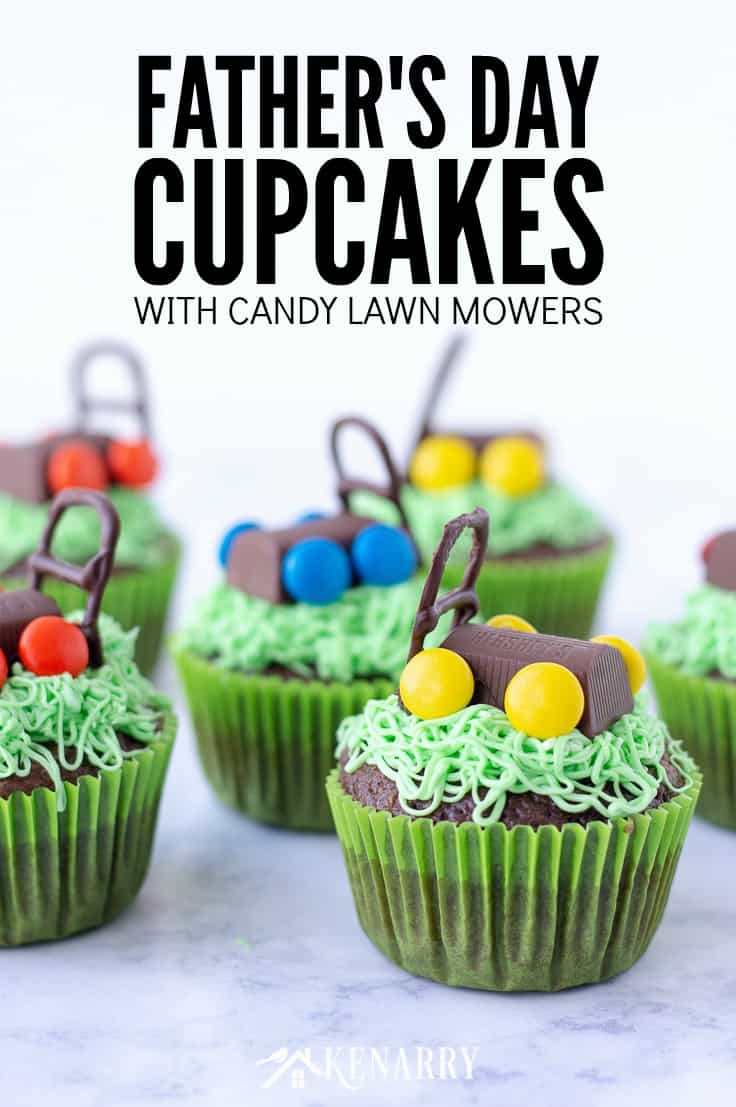 Celebrate dad by making these delicious Father's Day cupcakes with candy lawn mowers. They're an easy dessert idea you can create with the kids for Father's Day. #fathersday #cupcakes #recipes #cupcakeideas