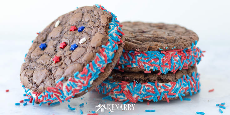 Brownie cookie ice cream sandwiches with red and blue sprinkles