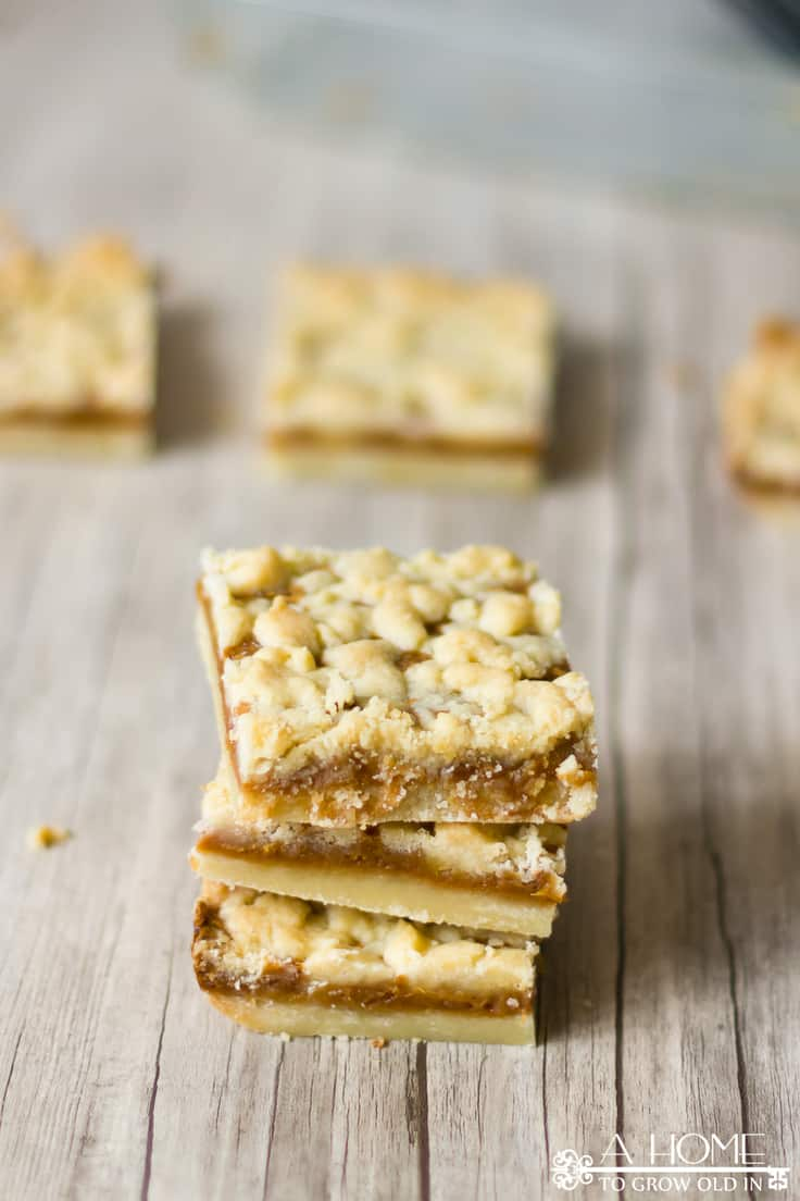 These salted caramelbutter bars are too good to turn down. The salty sweet combination is just perfect for any summer gathering you're planning. #caramel #dessertrecipes #saltedcaramel #dessertbars #summerdesserts