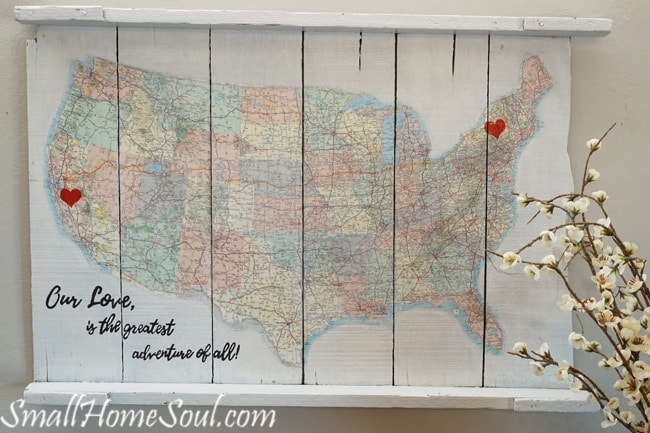 DIY Map Art: A Journey of Love – Small Home Soul - Home Sweet Home Art: 14 Easy DIY Craft Ideas featured on Kenarry.com