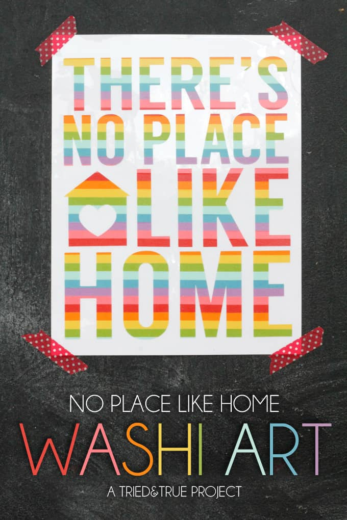 There's No Place Like Home Washi Tape Art – Tried and True - Home Sweet Home Art: 14 Easy DIY Craft Ideas featured on Kenarry.com