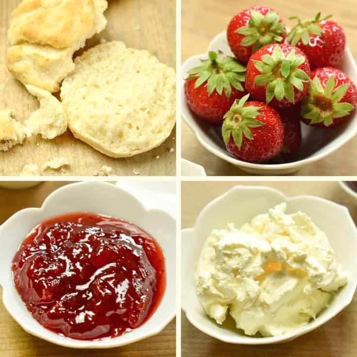 British Scones With Strawberries, Clotted Cream & Jam #scones #recipes #britishfood #easyrecipe