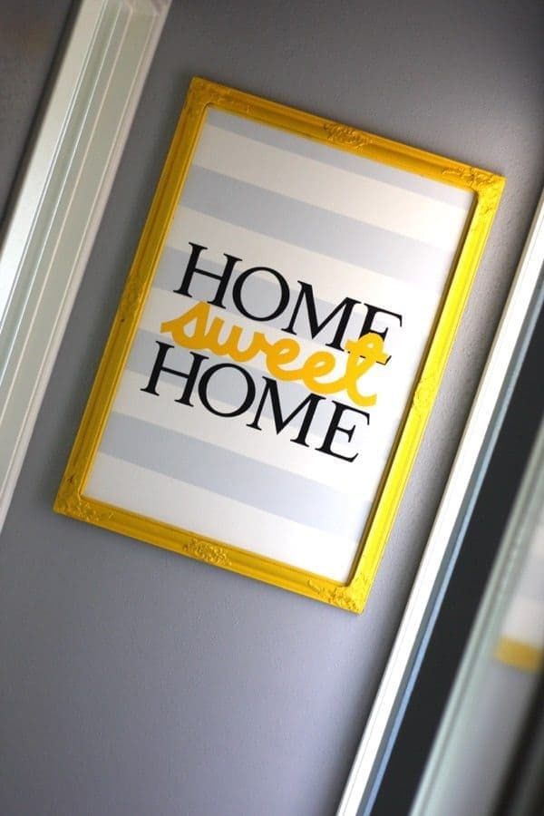 """DIY Vinyl Artwork """"Home Sweet Home"""" – Love and Renovations - Home Sweet Home Art: 14 Easy DIY Craft Ideas featured on Kenarry.com"""