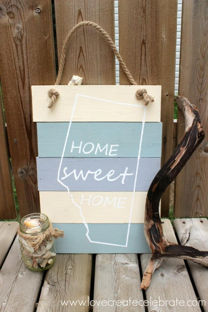 DIY Home Sweet Home Sign – Love Create Celebrate - Home Sweet Home Art: 14 Easy DIY Craft Ideas featured on Kenarry.com