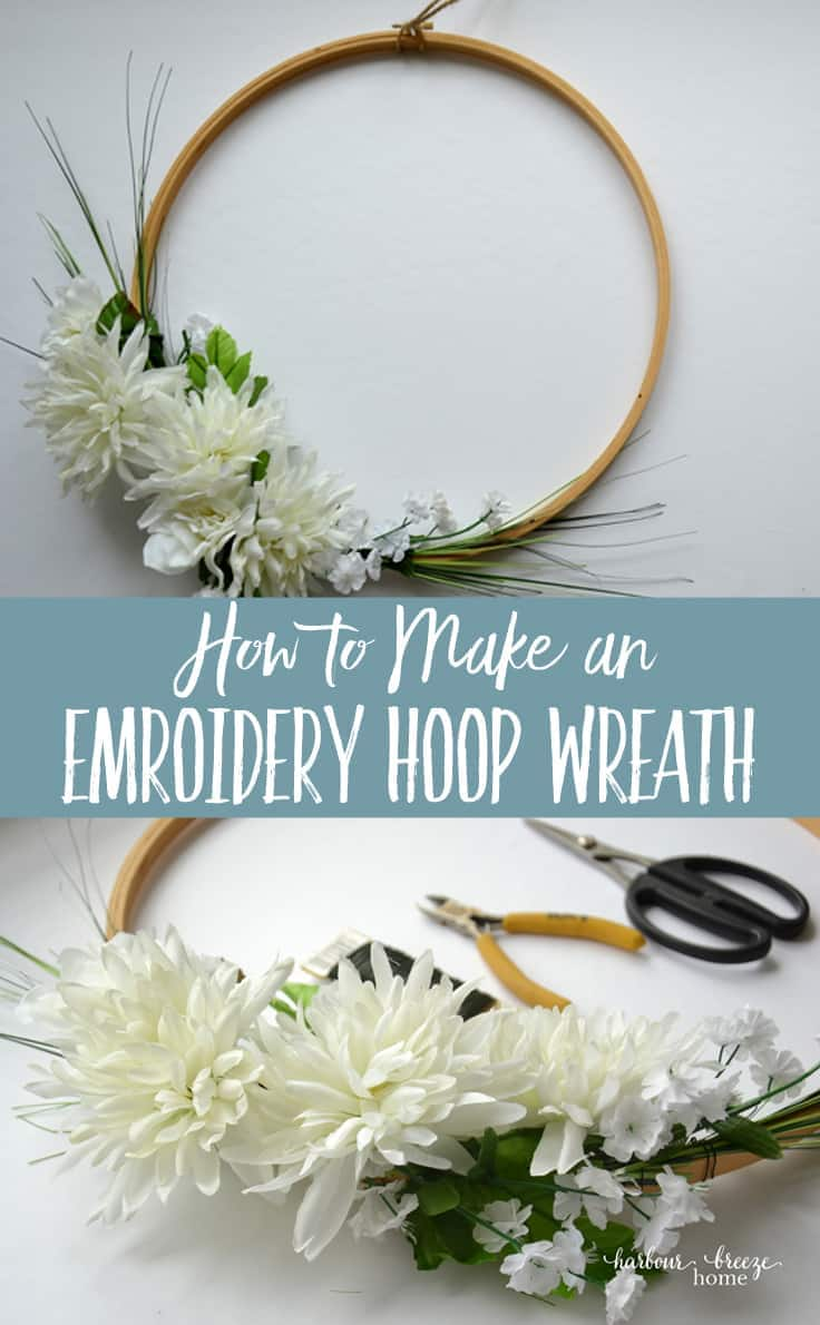 How to make a front door wreath out of an embroidery hoop