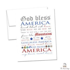God Bless America patriotic note cards from The Birch Cottage