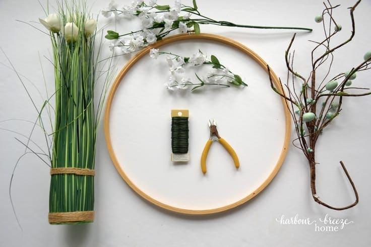 Supplies for an embroidery hoop front door wreath