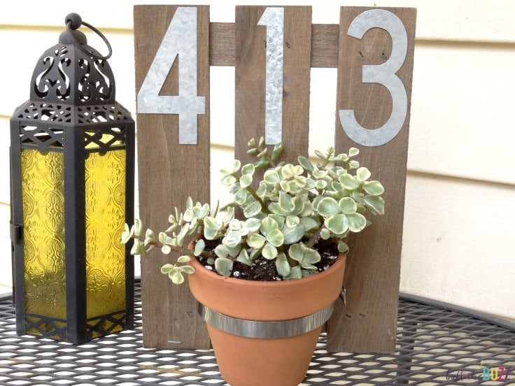 DIY House Number Wall Planter on table