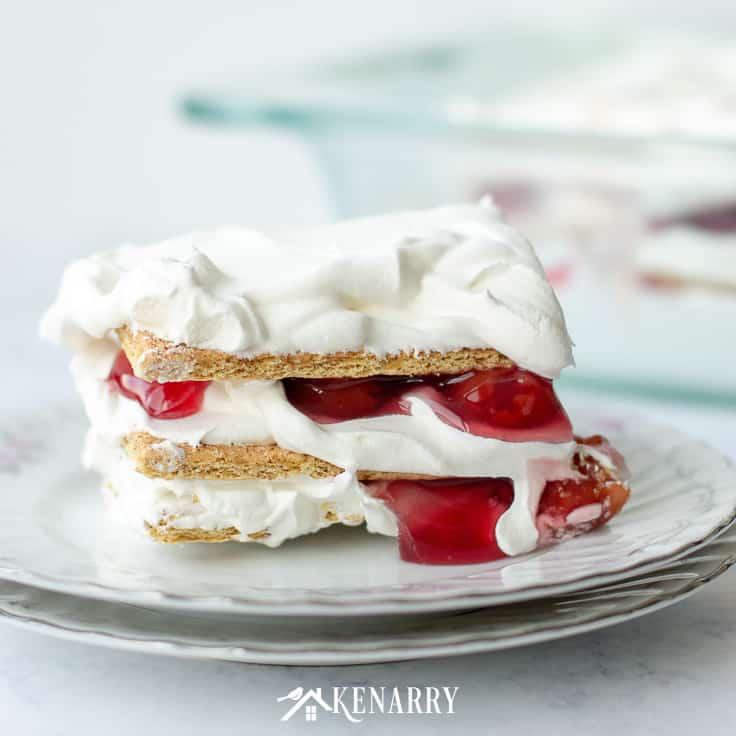 No Bake Cherry Pie Ice Box Cake recipe served on a plate