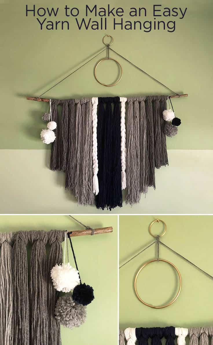 How to Make an Easy Yarn Wall Hanging #bohemianstyle # boho #bohostyle #macrame