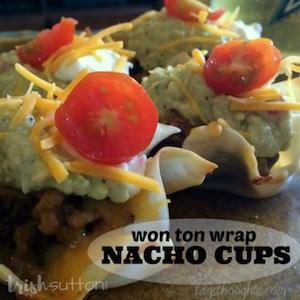 Wonton Wrap Nacho Cups Recipe; TrishSutton.com