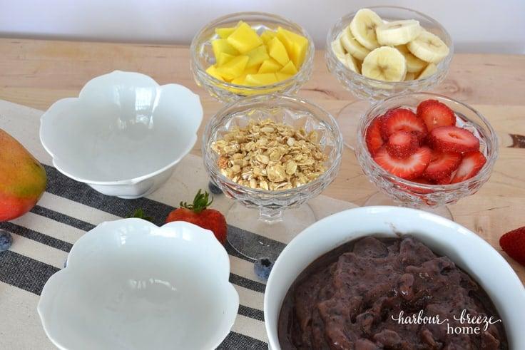 ingredients to assemble açaí berry bowls
