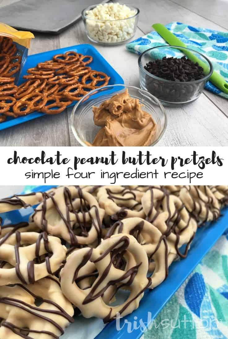 Chocolate Peanut Butter Pretzels Recipe; TrishSutton.com #easyrecipe #dessert #peanutbutter #snack