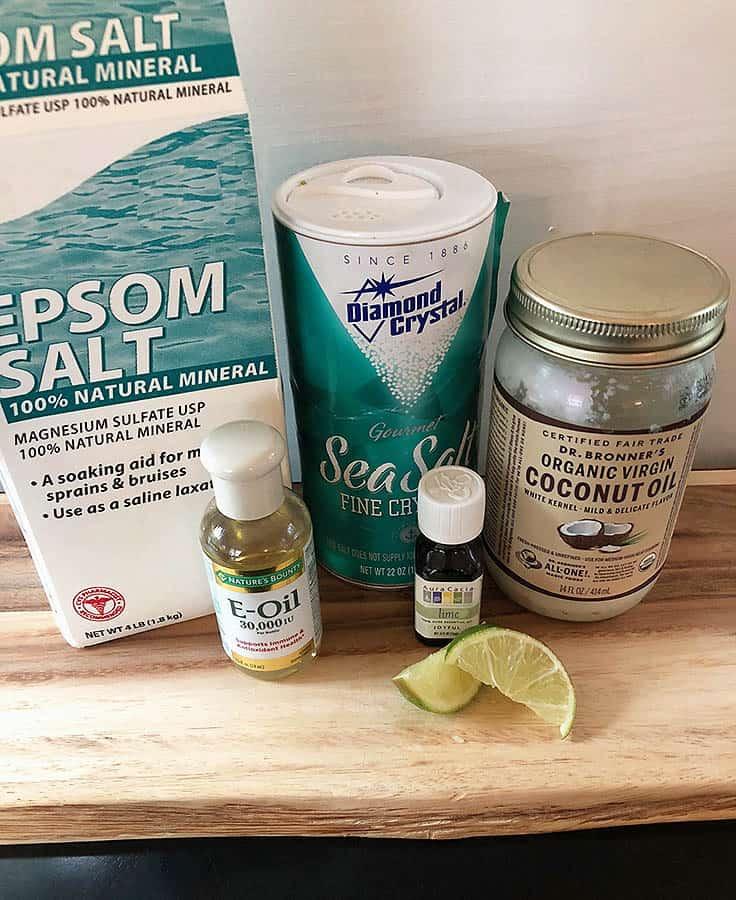 DIY Coconut Lime Body Scrub Recipe #diy #bodyscrub #beauty