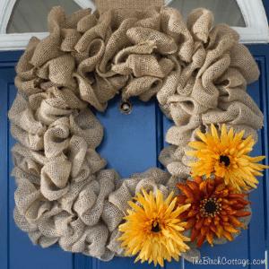 DIY Fall Burlap Wreath by The Birch Cottage
