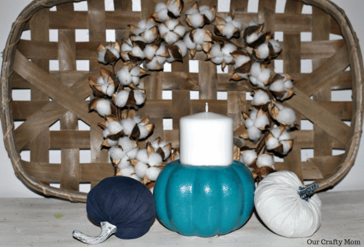 DIY Pumpkin Candle Holder With Dollar Store Pumpkins Hero Image Our Crafty Mom