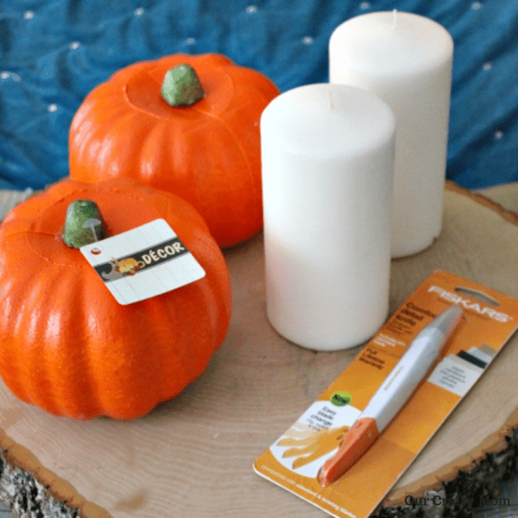 Supplies  Needed For DIY Pumpkin Candle Holder Our Crafty Mom #falldecor #falldiy #fallcrafts #crafts #diy pumpkins #fallhomedecor