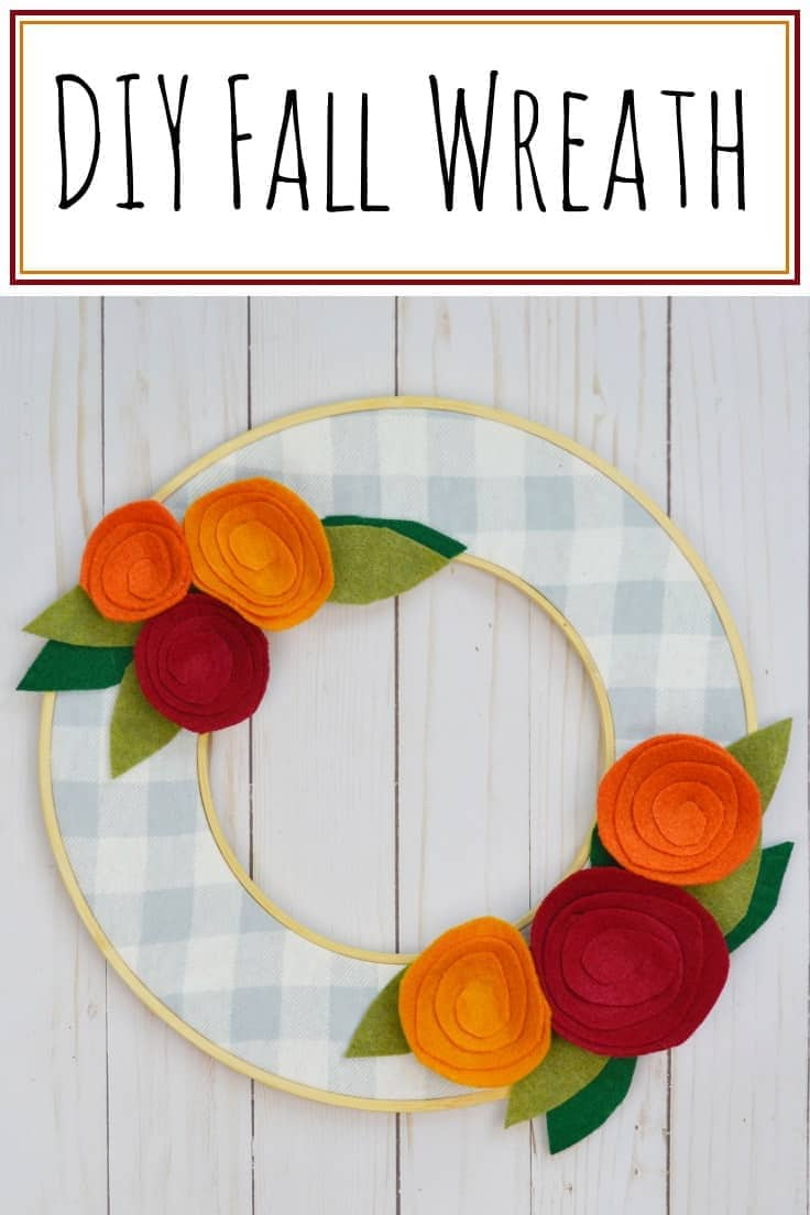 Want an easy DIY fall wreath idea for your front door? Make this simple fall wreath using some fabric, felt, embroidery hoops, and a little hot glue.  You can customize it to your own style...rustic, elegant, farmhouse, etc. #fallwreath #falldecor #wreaths #fall #fallfrontporch #falldecorideas #kenarry