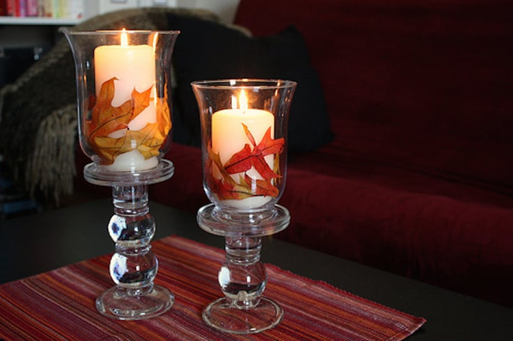 decorate for fall with leaves and candles