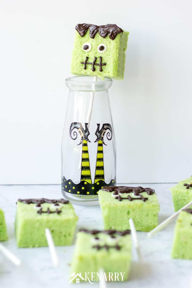 Create cute cake pops for Halloween with this easy tutorial. We'll show you step-by-step how to make Frankenstein cake pops for a fun Halloween party treat. #easyrecipes #halloween #recipes #dessert #kidfriendlyrecipes