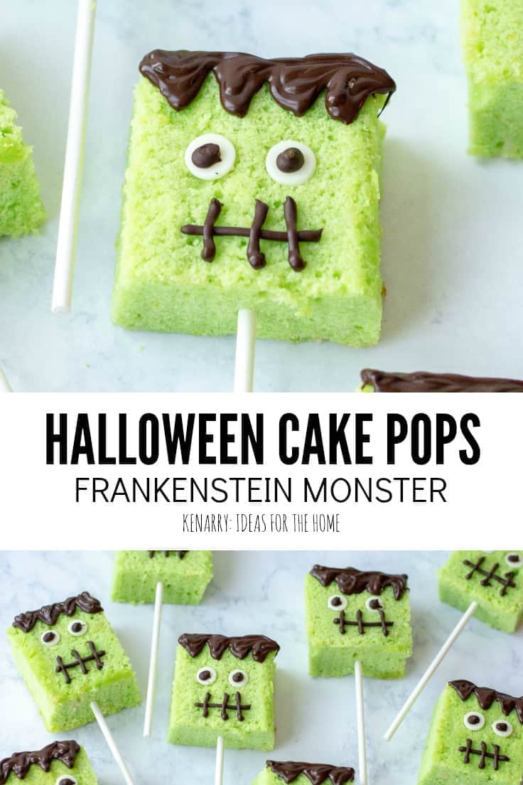 Delight your kids and their friends with these easy homemade Halloween cake pops! Each of these party desserts is decorated to look like Frankenstein monster. #easyrecipes #halloween #recipes #dessert #kidfriendlyrecipes