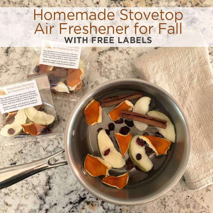 Homemade Stovetop Air Freshener for Fall with free labels #homemade #fall #freeprintable #potpourri #DIY