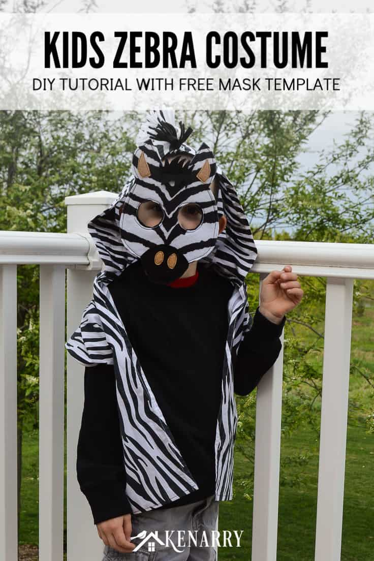 Create an easy kids zebra costume for your wild jungle animal to wear for dress-up or Halloween using this tutorial with free printable DIY mask template. #diyhalloweencostume #halloween #costume #halloween #kidscostumes #diycostumes #kenarry