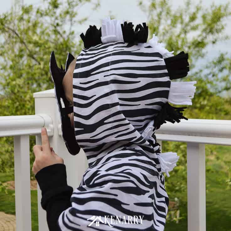 Make your own cute jungle animal costume using this zebra costume diy tutorial. It includes step-by-step instructions and a pattern for making the zebra head mask.