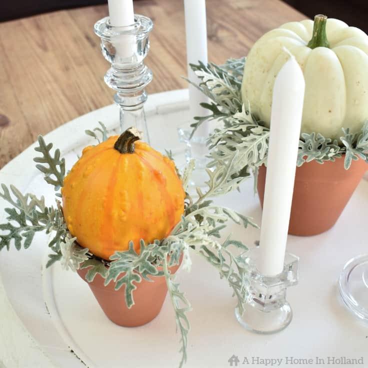 Learn how to create a simple but stylish fall display using pumpkins and gourds. #fall #falldecorideas #fallhomedecor #falldecorations #pumpkins #kenarry