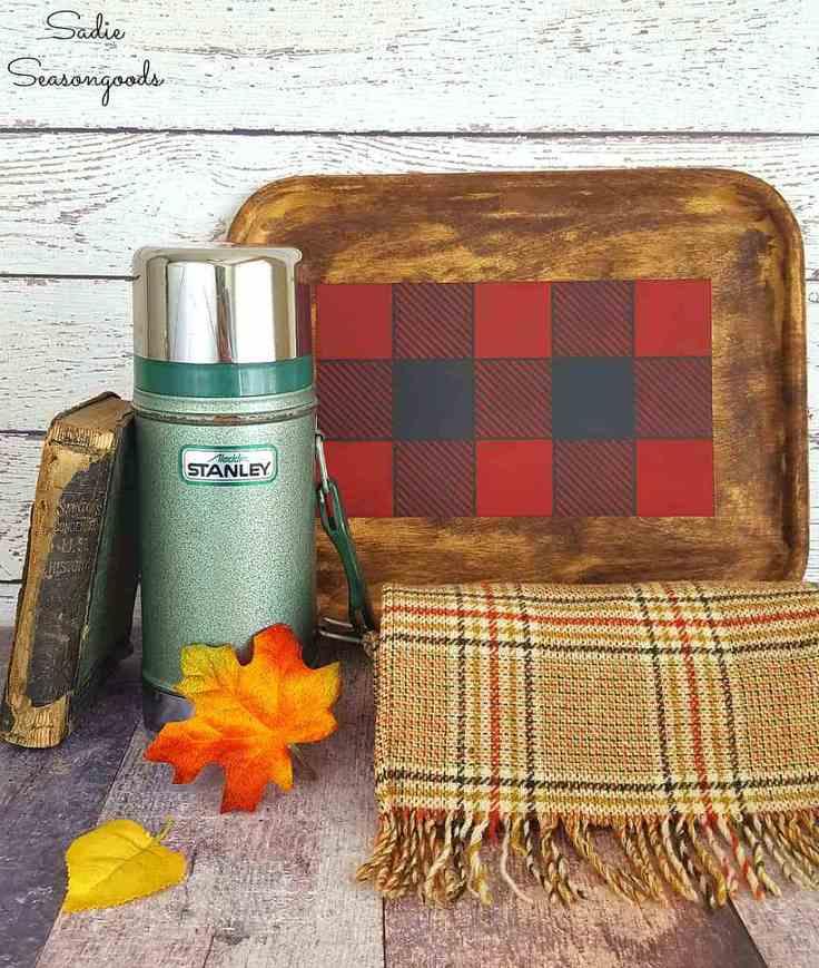 Buffalo Check Tray Décor for Autumn - Sadie Seasongoods - Easy DIY Buffalo Plaid Decor Ideas on Kenarry.com