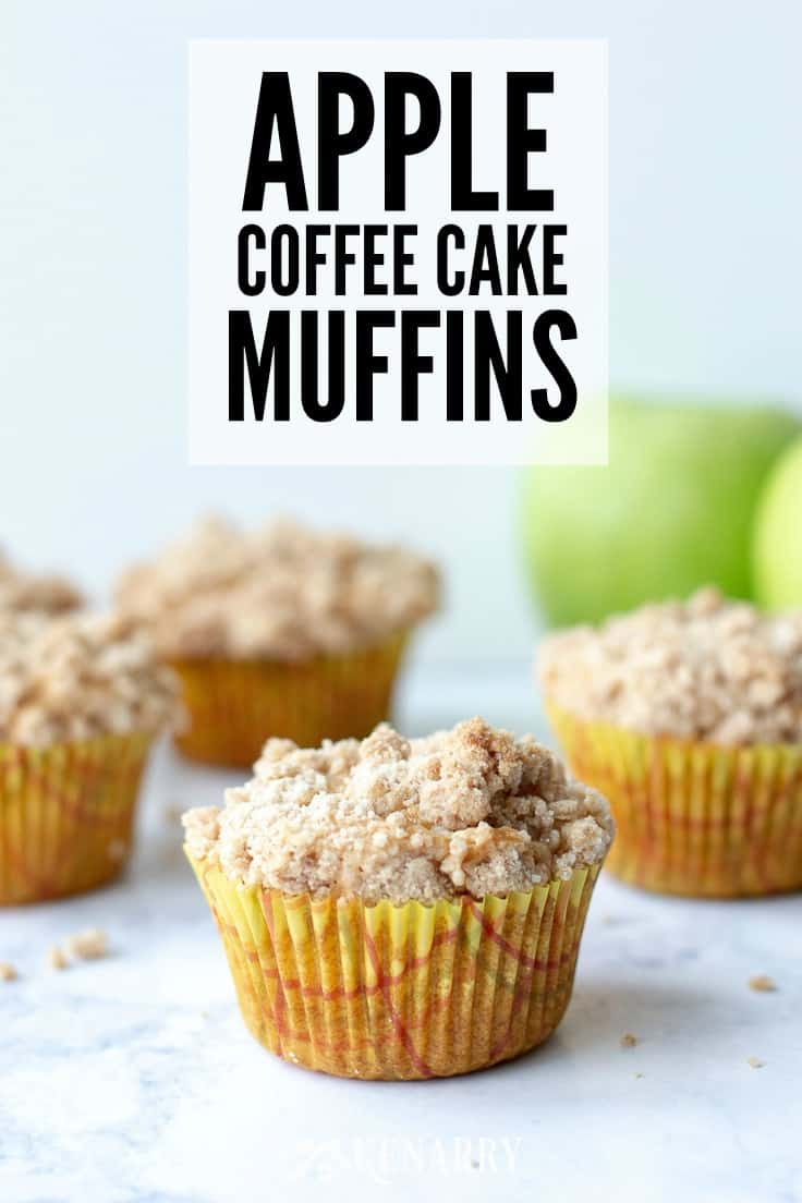 Love cinnamon and apples? Make these delicious apple coffee cake muffins with a crumb topping when you need an easy recipe idea for a breakfast or dessert that tastes like fall. #holidaybaking #muffinrecipes #kenarry