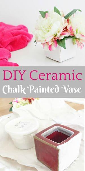 DIY ceramic chalk painted vase