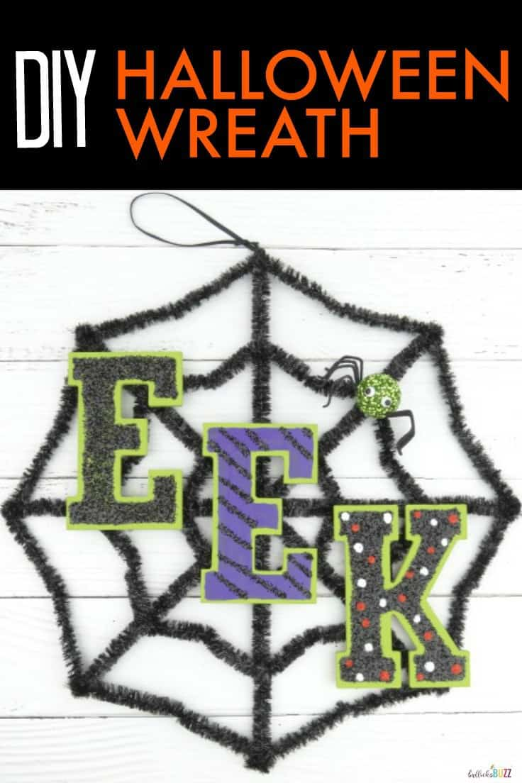 """With just a few simple supplies, the real """"treat"""" this year will be learning how to make a spooky and easy DIY Halloween Wreath for your front door. #halloween #halloweenwreath #kenarry"""