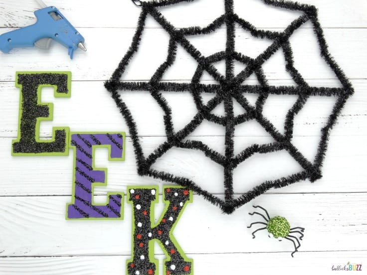 Halloween wreath add letters and spider to web