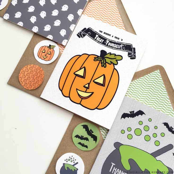 These easy and cute DIY printable Halloween cards are perfect for expressing your gratitude to those who contribute to making this holiday fun and safe for your kids, like teachers and neighbors. Designed by tortagialla.com for Kenarry. #halloween #halloweencards #kenarry