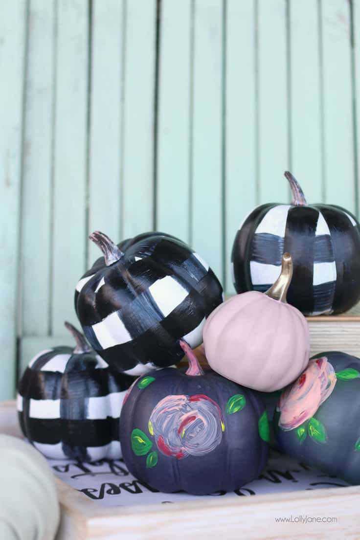 Easy Painted Floral Plaid Pumpkins Tutorial - Lolly Jane - Buffalo Plaid Craft Ideas featured on Kenarry.com