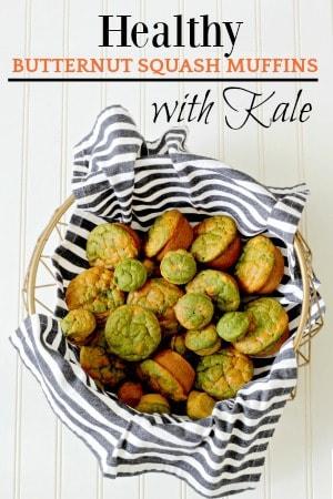 Healthy butternut squash muffins in a basket
