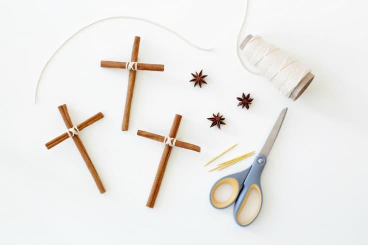Three cinnamon stick cross Christmas ornaments