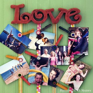 Make a cute photo hanger using a wooden LOVE sign and ribbons.