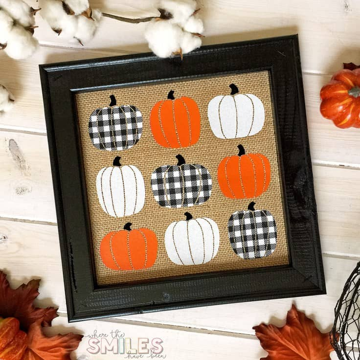Fall Pumpkin Burlap Sign - Where the Smiles Have Been - See more easy DIY Buffalo Plaid Decor Ideas on Kenarry.com
