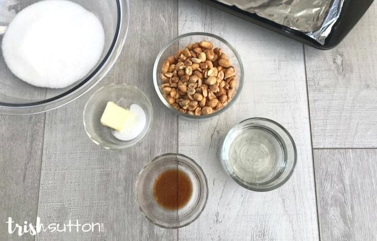 Simple Peanut Brittle Microwave Recipe; TrishSutton.com