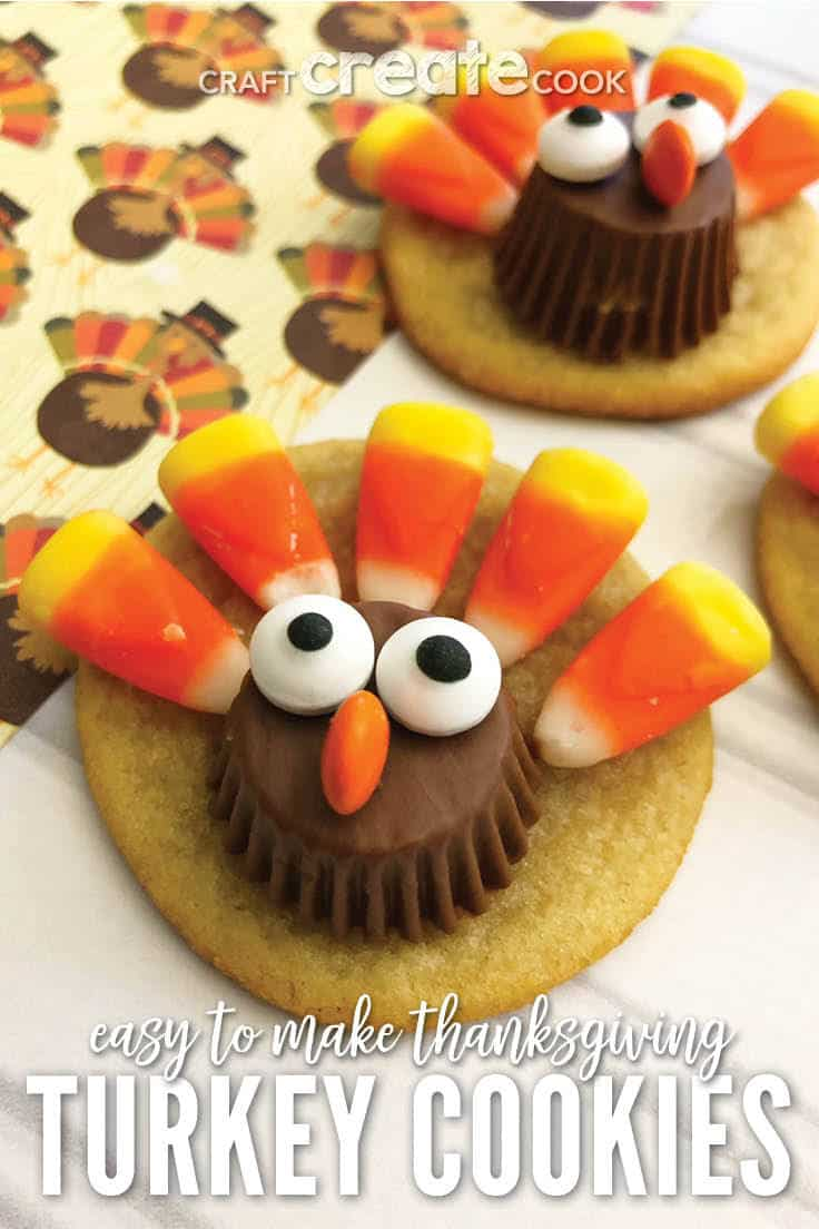 These Thanksgiving turkey cookies are sure to delight both kids and adults!  They're so cute that you won't believe how easy these sugar cookies are!  Click to get even more Thanksgiving ideas and save to your recipes! #Thanksgiving Thanksgivingrecipes #cookies #cookierecipes #easyrecipes #dessert #kenarry