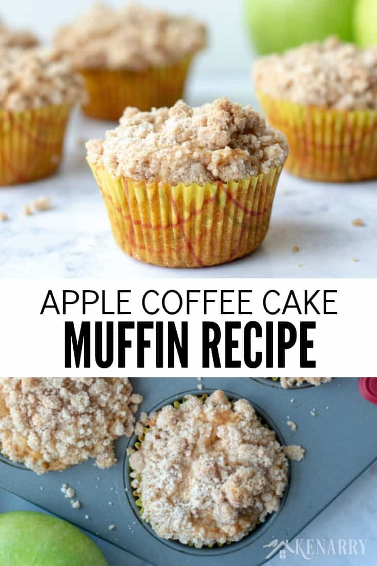 apple coffee cake muffins on a marble surface with green apples in the background