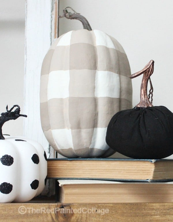 DIY Painted Buffalo Check Pumpkin - The Red Painted Cottage - See more easy DIY Buffalo Plaid Decor Ideas on Kenarry.com